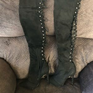 Black high heel tie up back boots